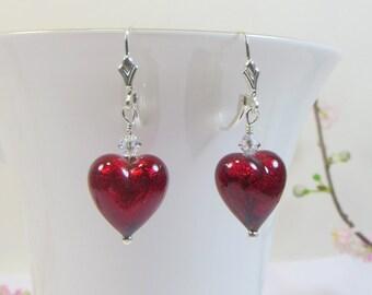 Murano Glass Earrings, Scarlet Red Murano Heart Earrings w Swarovski Crystal & 925 Sterling Silver, Red Venetian Murano Glass Heart Earrings