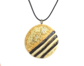 Large Round Clay Pendant  Modern  Ceramic Statement Necklace Wearable Pottery Art Jewelry Earthy Black Choker Textured Pendant