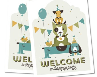 Puppy Welcome Sign, Birthday Party Décor // PUPPY PARTY