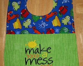 Make A Mess Embroidered Monster Feeder Bib