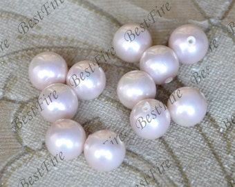 2pcs 12mm shell Pearl Pendant, Round light pink South Seashell Pearl ,Half Hole Pearl for Earrings Brooch Ring Pendant