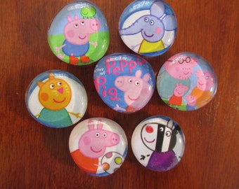 PEPPA PIG MAGNETS Glass Bubble Magnets Set of 7