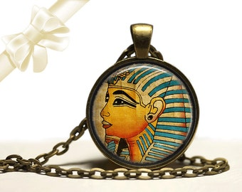 Glass Tile Necklace Pharoah Necklace  Egyptian Necklace Glass Tile Jewelry  Egytian Jewelry Black Jewelry Black Necklace Brass Jewelry