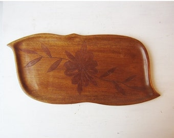 ON SALE Vintage Wood Tray with Flower Inlay Design - Vintage Home Decor - Haiti