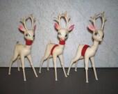 Vintage Mid Century Christmas Decoration - Three Reindeer