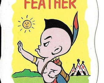Vintage Mid Century Harvey Famous Cartoons Illustrated Game Card - Little Feather