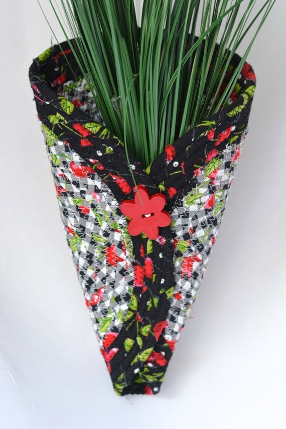 Sale...  Wall Vase, Pretty Black and White and Red Vase, Handmade Wall Art, Quilted Fabric Vase, Cute Cherry Wreath Vase