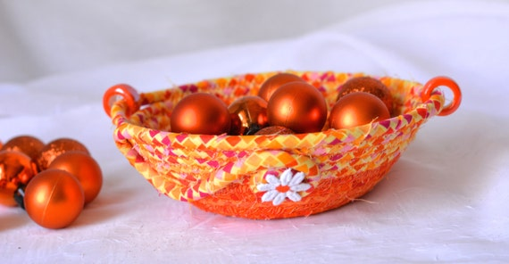 Halloween Decoration, Handmade Halloween Candy Dish, Autumn Decorative Basket, Fall Orange Bowl, Halloween Desk Accessory Bowl