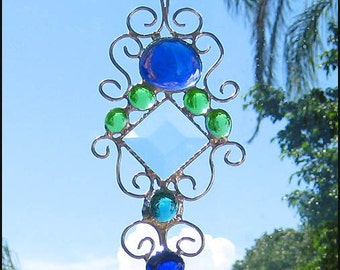 """Sun-Catcher - Glass Nugget Stained Glass Sun Catcher - Handcrafted Stained Glass Suncatcher - Decorative Wire Work - 4 1/2 x 8""""- 201-BL-GR"""