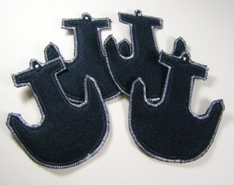 Nautical Anchors Felt Coasters Navy set of 4