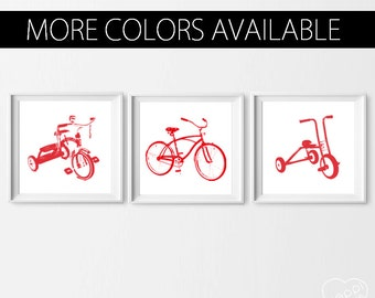 Transportation Nursery Art , Tricycle Bike Wall Art, Set of 3 Bike Decor, Transportation Red , Bike Kids Prints, Boy Wall Art Custom