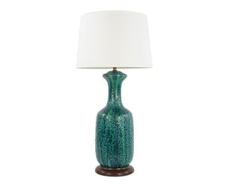 Mid Century Modern Table Lamp - Turquoise Fat Lava - Volcanic Glaze - Lava Glaze - Perfect Condition