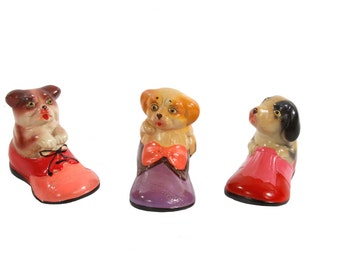 Set of 3 Puppy Pencil Sharpeners - Ceramic Dogs