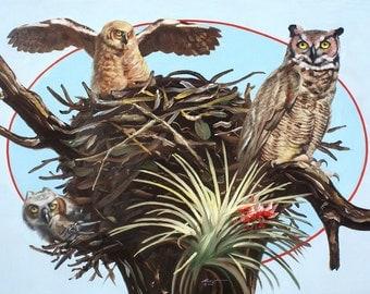 Horned Owls, wildlife bird, oil painting 30x40 (76.2 x 101.6 cm) by RUSTY RUST / O-99