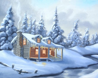Cabin Snow painting by RUSTY RUST 24x36 oils on canvas / M-399