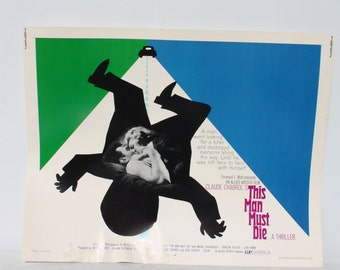 "Vintage B-Movie Poster Lobby Card This Man Must Die...A Thriller 1970 Mod Graphics Original Half Sheet Poster 28"" x 22"""