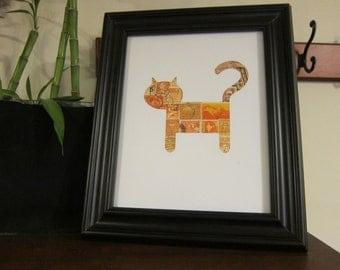 Cat - Used Postage Stamps - Framed Postage Stamp Art - Wall Art - Cat art, orange cat, kitten, kitty