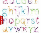Sale! Doodle Alphabet, Hand Drawn Girly Font, Lowercase - Commercial and Personal Use