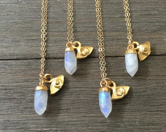 Tiny Moonstone Spike & Eye Necklace - 14K Gold Fill Chain