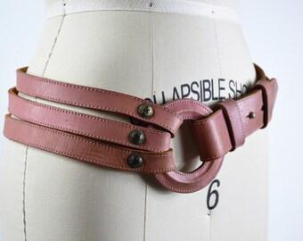 Vintage Belt 1980s Pink Leather Belt Large Pink Belting Leather 3 piece Statement Belt for the Hip Size Medium by Avion