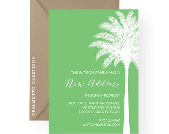 Simple New Address Announcement with Palm Tree Silhouette, Sunny Florida, California, Hawaii, Islands, Tropical, Any color and custom text