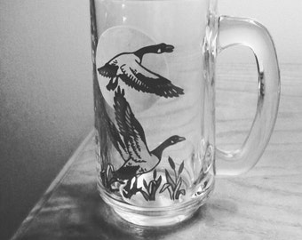 Vintage Geese Glass Mugs