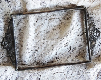 Antique Photo Frame Intricate Design Metal Cast Ribbon Flower Ornate 1800's Design on Top and Bottom Photo Art Vintage Framed