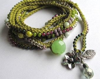 "Olive and pink boho wrap bracelet / necklace, crochet bracelet, beaded, ""Nomad"",  boho jewelry, crochet jewelry, fall fashion, coffycrochet"