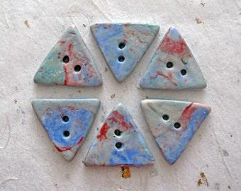 Set of six triangular handmade porcelain buttons blue buttons ceramic buttons