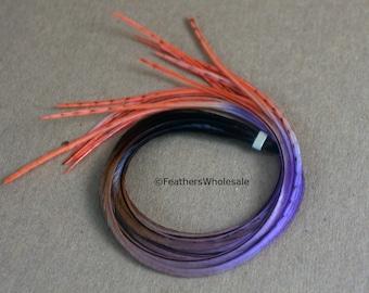 Unique Accessories Feather Hair Extensions Feather Accessories for Teen Ombre Hair Extensions Feather Extension Purple Orange Combo, 13