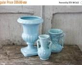 SHOP SALE Vintage Trio USA Aqua Vases