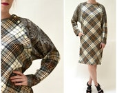 Vintage Plaid Wool Dress with Paisley Sleeves Medium Large // Vintage Relaxed Plaid Dress Wool Brown and Cream Fall Dress Size Medium Large