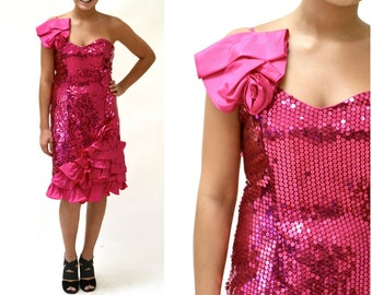 Vintage 80s Prom Dress in Pink Small Medium Sequin Dress// 80s Party Dress Pink Sequin Dress Small Barbie Pageant Drag Queen Flirtations