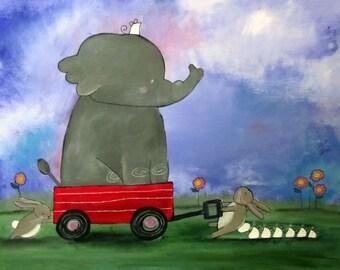Elephant Mouse Red Wagon Nursery Art Print Cute 8x10 Childrens Art Kids Wall Art Playroom Decor Baby Art Storybook Art Animals Teamwork