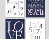"""Love You Forever Nursery Navy Pink and Grey Nursery Art Alphabet Nursery Numbers I'll Love You Forever Art You Choose Colors - 8""""x10"""""""