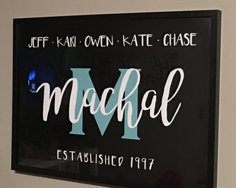 Family Name Sign, Family Sign, Last Name Sign, Family Established Name Sign, Family Name Print, Christmas Gift, Anniversary Gift