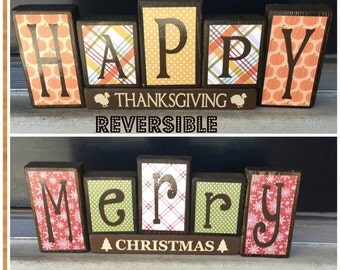 Reversible Christmas and Thanksgiving wood blocks-(plaid/snowflakes) Happy Thanksgiving reverses with Merry