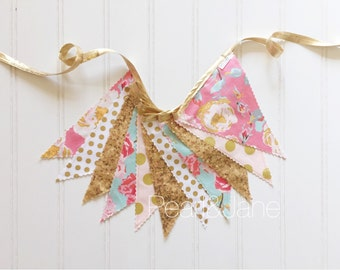READY TO SHIP! - Shabby Chic Floral, Gold, Pink, and Turquoise Fabric Banner - Bunting, Party Decoration, Photo Prop, w/ Sequin Fabric