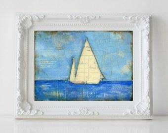 "Sailboat Painting, 5x7"" Original Mixed Media, Original Art, Nautical painting, Sailing, Sail Art, cerulean blue light blue, Sailboat No. 4"