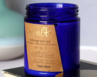 lemongrass tea wooden wick soy candle - cobalt by type.lites