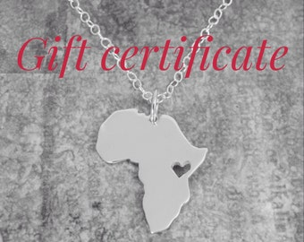 GIFT CERTIFICATE OF Africa Pendant Map Sterling Silver Heart Africa Ethiopia Adoption