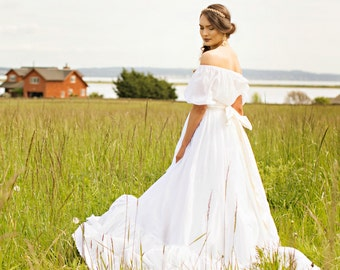 Cotton Boho Wedding Dress, Off Shoulder, Sheer Cotton, KATRINA, Eyelet Ruffle Long Full Skirt