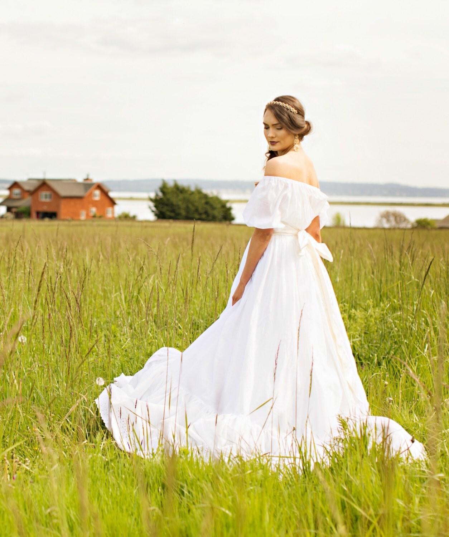 Cotton Boho Wedding Dress f Shoulder Sheer Cotton