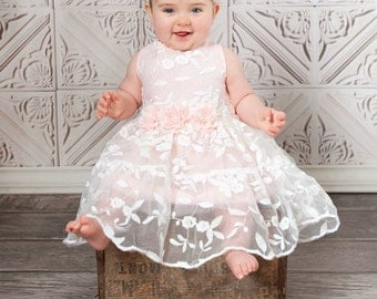 Flower dress, lace flower girl dress, girls lace dress, Pink lace dress, rustic flower girl dress, birthday dress,Easter dress, baby dress.