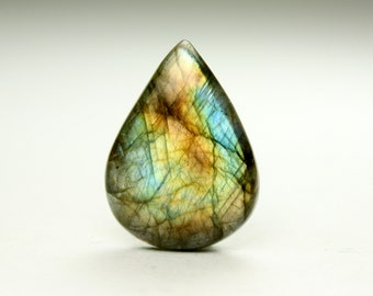 Glowing Teardrop Labradorite Cabochon, Ideal for Jewelry Designers and Artisans