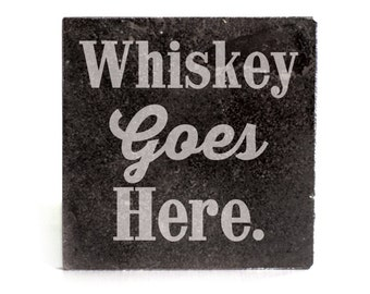 Coasters Set of 4 - black granite laser - 9960 Whiskey goes Here