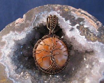 Tree of Life wire wrapped pendant with calcite