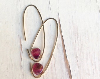 Pink Tourmaline Earrings Tourmaline Earrings Tourmaline Hoop Gemstone Jewelry