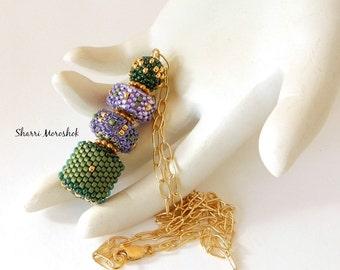 Sale Pendant Necklace Reduced 30% - Mardis Gras Beaded Beads by Sharri Moroshok