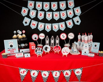Bowling Party Decorations - Printable Bowling Party Package by 505 Design Inc